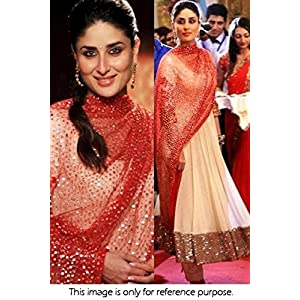 Bollywood Replica Kareena Kapoor Georgette Anarkali Suit In Beige and Red Colour NC249