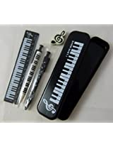 Music Themed Black Pencil Case Stationery Set - Mechanical Pencil, Mechanical Pen, 15cm Ruler and Eraser