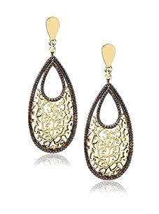Courtney Kaye Flora Filigree Drop Earrings, Gold/Hematite