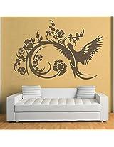 DeStudio Bird And Floral Decorative One Home Art Decor Removable Vinyl Room Wall Sticker, Size : TINY, Color : BLACK