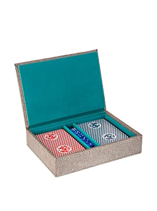 Wilouby Travel Game Set with 2 Decks of Cards & Dice, Grey Lizard