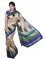 Manisha Pashmina Silk Self Print Blue Saree (6.2 mtrs)