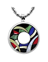 Devotie RAINBOW-P01 Stainless Steel Pendant With Color Stone Inlay