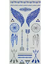 Spestyle Temporary Jewelry Tattoos Blue And Silver Metallic Jewelry Tattoos Jewelry Design, Feathers And Wings
