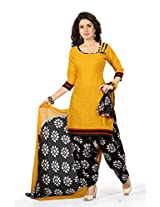 BanoRani Womens Yellow & Black Color PolyCotton UnStitched Patiyala Salwar Suit