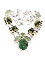 925-Silver Peridot Prehnite Gemstone Fashion Necklace For Women US24