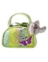 Aurora World Shimmery Fancy Pals Green Plush Toy Pet Carrier with Butterfly