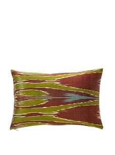 """D. Bryant Archie Uzbek Ikat Pillow, Burgundy/Blue, 12"""" x 16"""""""