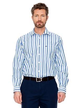 Cortefiel Hemd Multi Gestreift (Blau/Weiß)