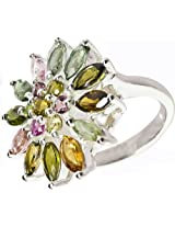 Exotic India Faceted Tourmaline Flower Ring (Mixed Color) - Sterling Silver Ring Size 6