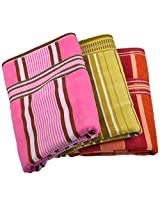 Jai Ambe 200 GSM 3 Piece Cotton Towel Set - Multi Colour