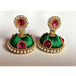 Silk Thread Jhumka Earrings - Green, Ethnic