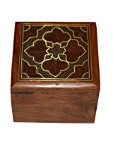 Indian Jewellery Box Square Shape Wood Carving with Floral Brass Inlay Design
