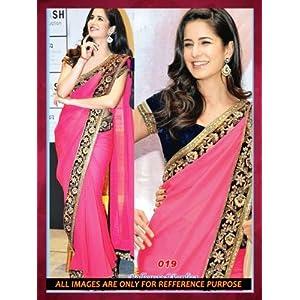 Katrina 60 gm Georgette Pink Bollywood Saree - Bollywood Sarees by dealtz