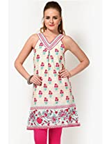 Printed Cotton Off White Kurta