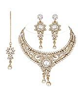 I Jewels Traditional Gold Plated Bridal Jewellery Set with Maang Tikka For Women (White)(M4033W)