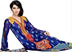 Dutch-Blue Pakistani Salwar Kameez Suit with Embroidered Neck and Printed Dupatta - Pure Cotton