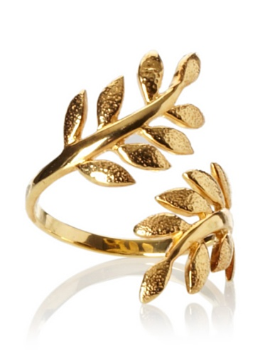 Eddera Olive Branch Ring, Gold