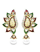 Multicolor Stone Green & Red Enamel Gold Plated Dangle Earrings