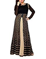 H K Fashions Women's Net Semi Stitched Gown Dress Material(Black_FreeSize)