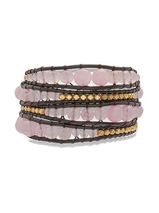 Lucie & Jade Echtleder-Armband Metallbeads, Imitationsperlen dunkelbraun/gold/rosé
