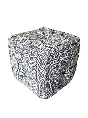 Boheme Collection Cotton Pouf, Cube, Multi