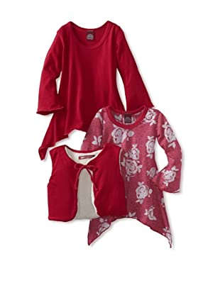 Red Wagon Baby Girl's 3-Piece Bell Sleeve Tunic/Vest Set (Ruby)