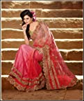 Fancy Fuchsia Embroidered Party Wear - Saree