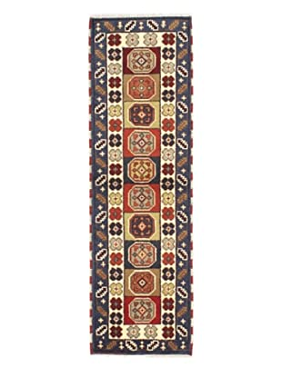 Hand-Knotted Royal Kazak Wool Rug, Cream, Navy, 2' x 6' 7