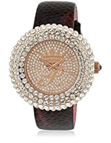 H Ph13578Jsr/32 Brown/Golden Analog Watch Paris Hilton