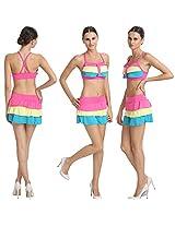 Good-Looking Multi Colored Salient Haltered Neck Skirted Bikini Set.