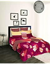 Tangerine Tangy Orange Cotton Duvet Cover - King Size, Maroon