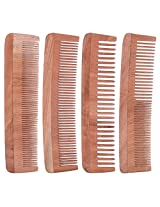 TULIR Neem Wood Comb, Combo of 4 (7 Inch)