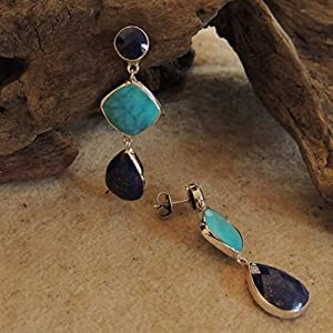 Flames of The Forest Lapis Lazuli and Turquoise set in Sterling Silver Earring