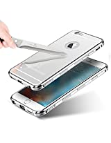 "KARP Selling First Time In India New ""Non Slippery & Anti Scratch"" Ultra-Thin Luxury Aluminum Metal Bumper Detachable + Mirror Tempered Glass Bumper Back Case For IPhone 6 [4.7''] (Silver)"