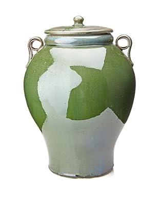 Patina Finish Ceramic Covered Urn