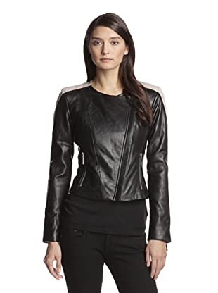 Vince Camuto Women's Colorblock Leather Jacket (Black Nude)