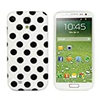 DNG Polka Dot Soft TPU Gel Case Cover For Samsung Galaxy S4 i9500 White with Black Dots