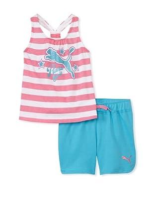 PUMA Girl's 2-6x Jersey Tank & Short Set (Flamingo Pink)