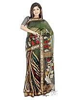 B3Fashion Handloom Traditional Mehandi Green Soft Silk Blend Saree