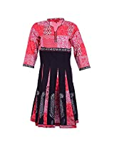 Karni Women's Cotton Pink & Black Kurti