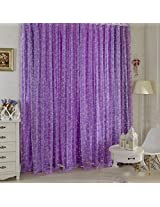 Generic 1 Piece Circle Pattern Tulle Door Window Divider Net Curtain Purple 200cm x 100cm