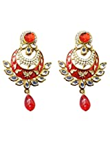 Dhwani Creation Drop Alloy Earrings For Girls and Women (Red)