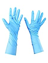 Aviditi GLV2014S Nitrile Industrial Grade Gloves Powder-Free, Extended Cuff, Blue, Small (Case of 50)