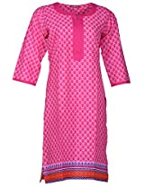 Bunkaari India Women's Cotton Regular Fit Kurti (00LK 19_46, pink , 46)