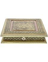 Rajwadi Meenakari Work Hand Made Mukhwas cum Dry Fruit Aluminium Box (10 cm x 10 cm x 2.5 cm, Gold, R121)