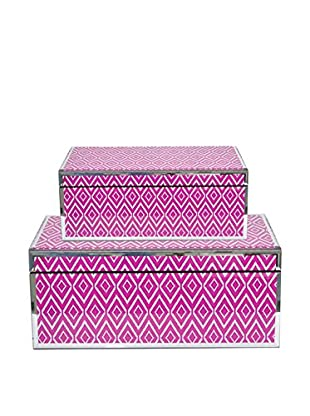 Three Hands Set of 2 Fuchsia Wood Mirrored Boxes