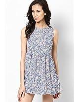 Blue Sleeve Less Skater Dress