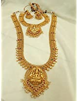 Traditinal Temple gold plated double set necklace with haram and jhumka
