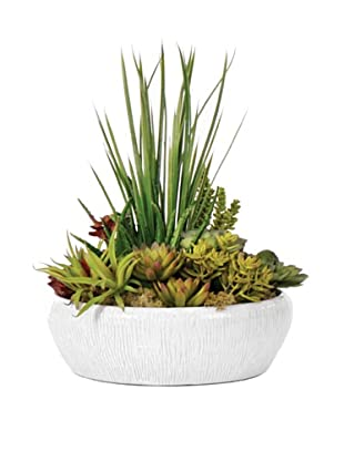 Lux-Art Silks Large Shiny White Bowl with Succulents, Green